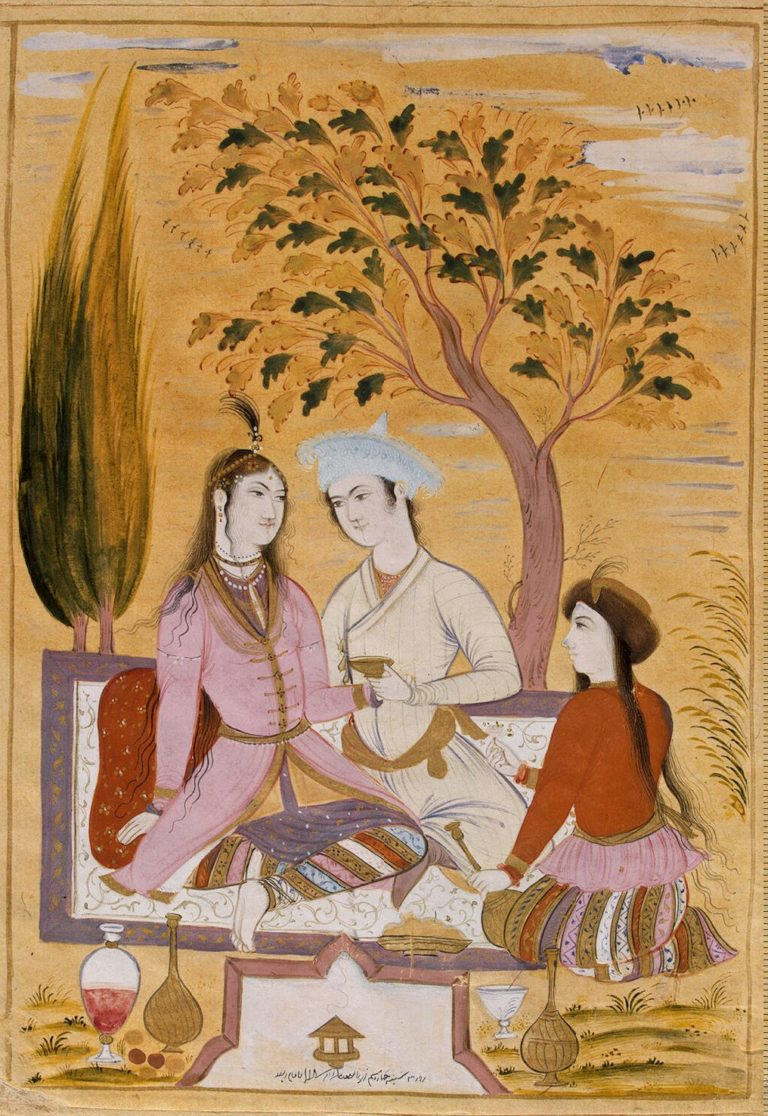 Amorous Couple and a Servant | Muin Musawvir | oil painting