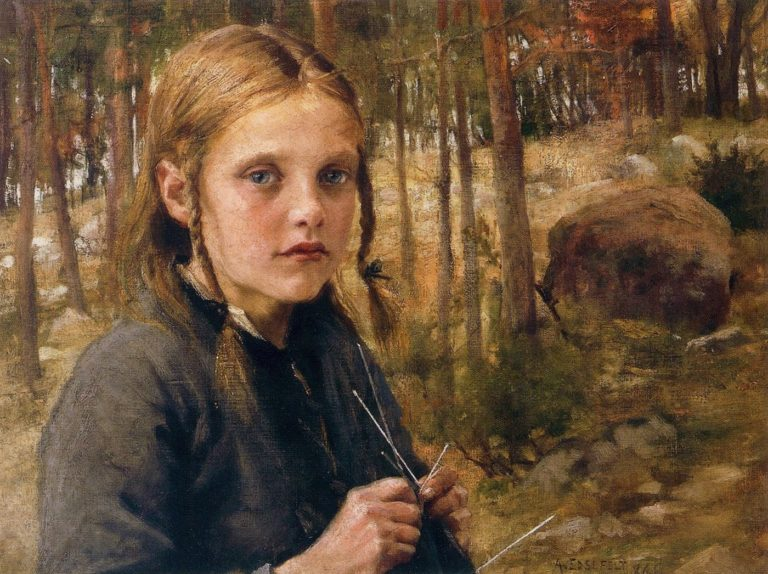 A Girl Knitting Socks | Albert Edelfelt | oil painting
