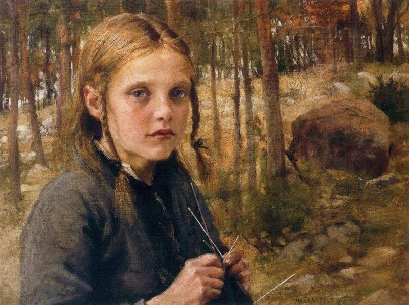 A Girl Knitting Socks | Albert Edelfelt | oil painting
