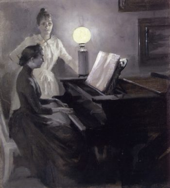 At the Piano | Albert Edelfelt | oil painting