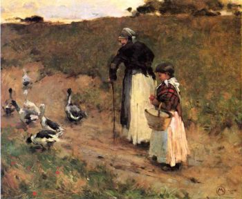 Old Woman with Child and Goose 1885 | Willard Leroy Metcalf | oil painting
