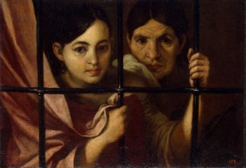 Two Women Behind a Grille | Murillo Bartolome Esteban (circle) | oil painting