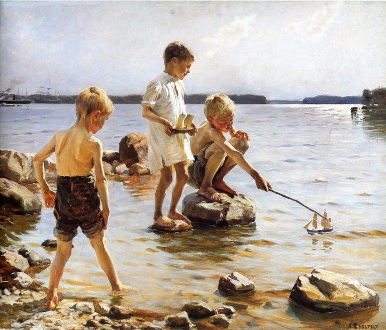 Boys Playing at the Beach   Albert Edelfelt   oil painting