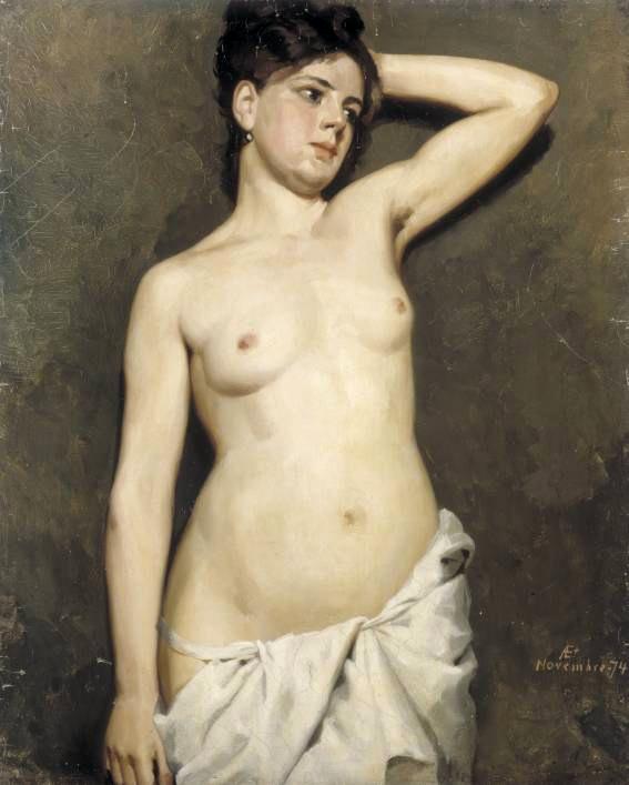 Female model academic study | Albert Edelfelt | oil painting