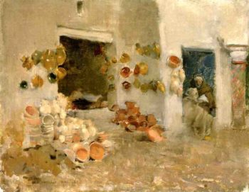 Pottery Shop at Tunis 1887 | Willard Leroy Metcalf | oil painting