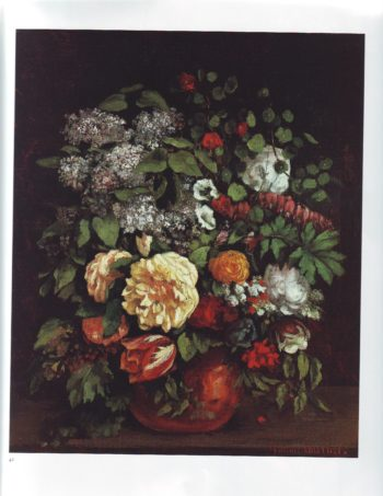 Vase of lilacs roses  tulips   Gustave Courbet   oil painting