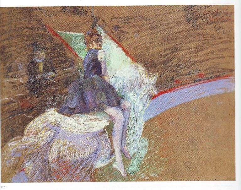 At the cirque fernando rider on a white horse | Henri Marie Raymond De Toulouse Lautrec | oil painting