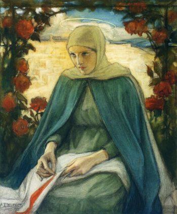 The Virgin Mary in the Rose Garden   Albert Edelfelt   oil painting