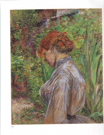Red headed woman in the garden of M foret | Henri Marie Raymond De Toulouse Lautrec | oil painting