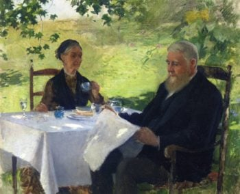Tea on the Porch 1890 | Willard Leroy Metcalf | oil painting