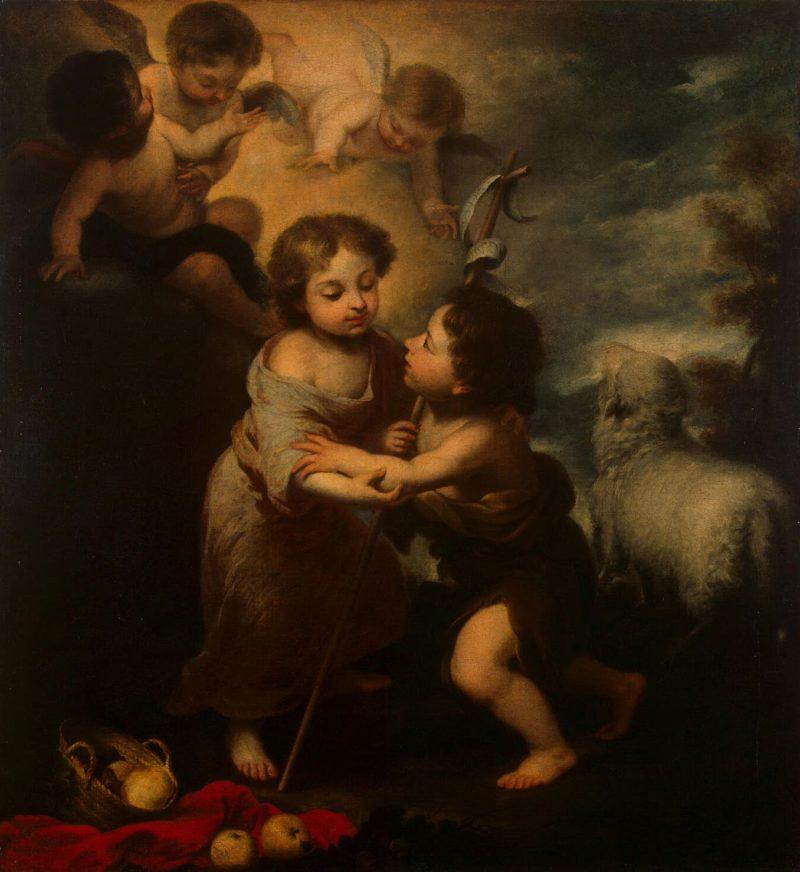 Infant Jesus and St John   Murillo Bartolome Esteban   oil painting