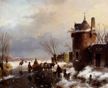 Figures With A Horse Sledge On The Ice A Town In The Distance | Andreas Schelfhout | oil painting