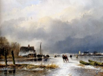 Peasants A Winter Landscape With Skaters On A Frozen Waterway | Andreas Schelfhout | oil painting