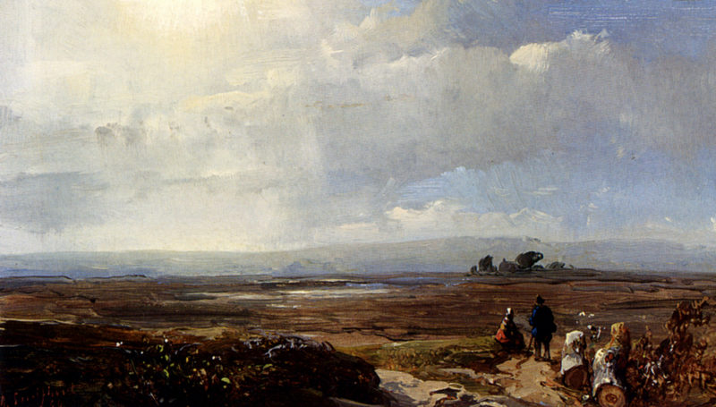 Travellers In An Extensive Landscape | Andreas Schelfhout | oil painting