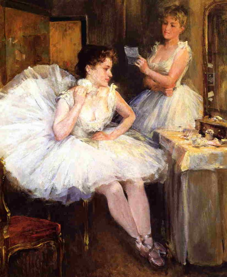 The Ballet Dancers(The Dressing Room) 1885 | Willard Leroy Metcalf | oil painting