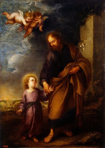 St Joseph Leading the Christ Child | Murillo Bartolome Esteban | oil painting