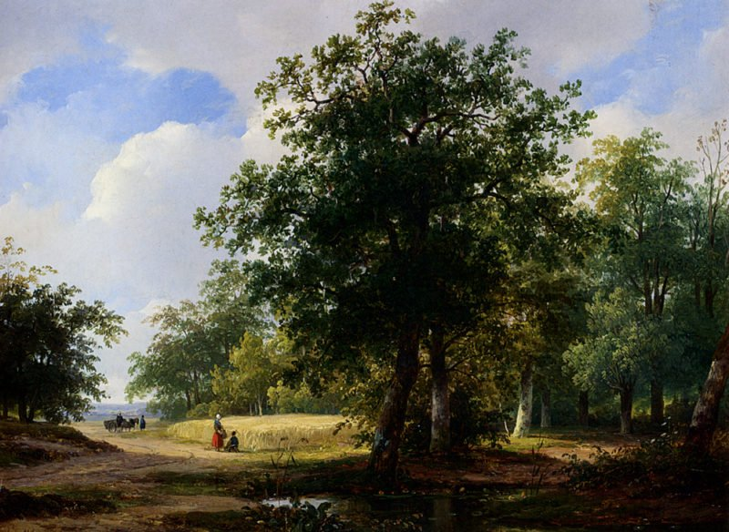 Peasants In A Cornfield | Andreas Schelfhout | oil painting