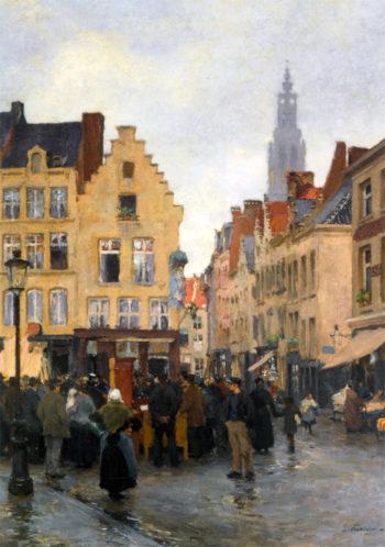A Busy Market In Antwerp   Edgard Farasyn   oil painting