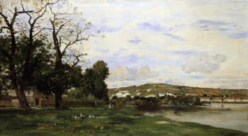 View of Andelys   Edmond Yon   oil painting