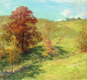 The Red Oak (no.2) 1911 | Willard Leroy Metcalf | oil painting
