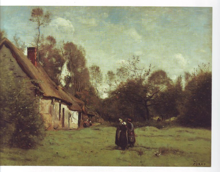 Thatched cottage in normandy | Jean Baptiste Camille Corot | oil painting