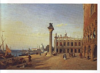 View of venice The piazzetta seen from the rivadegli schiavoni | Jean Baptiste Camille Corot | oil painting