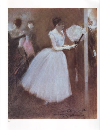 At the evening party woman in white with a fan | Jean Louis Forain | oil painting