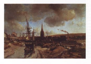 View of the port of harfleur | Johan Barthold Jongkind | oil painting