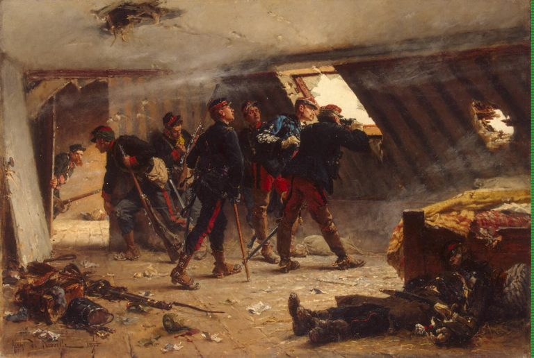 An Episode from the Franco-Russian War (The Garret in Champigny in November 1870) | Neuville Alphonse Marie de | oil painting