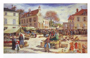 The marketplace in front of the town hall at pontoise | Ludovic Piette | oil painting