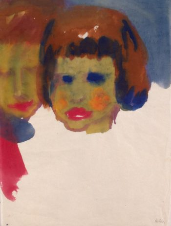 Portrait of a Young Woman and a Child | Nolde Emil | oil painting