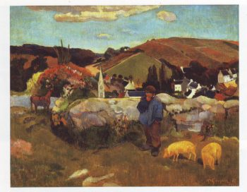 Brittany landscape with a swineherd | Paul Gauguin | oil painting