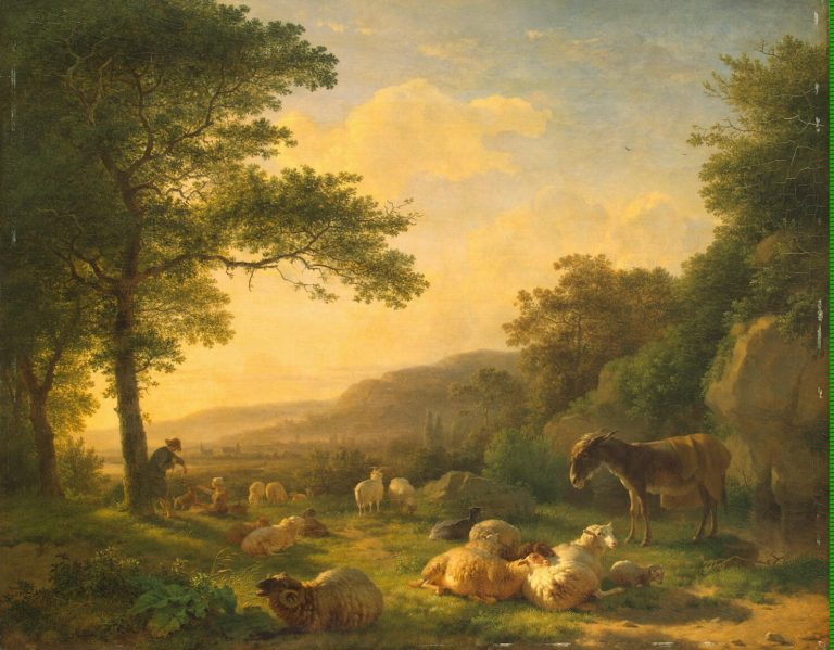 Landscape with a Flock of Sheep | Ommeganck Balthazar Pau | oil painting