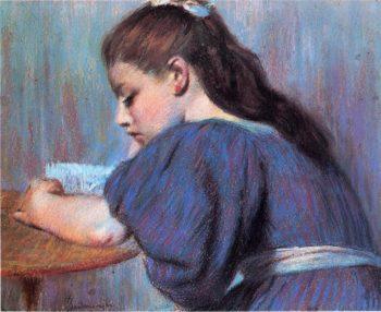 Young Girl Reading | Federico Zandomeneghi | oil painting