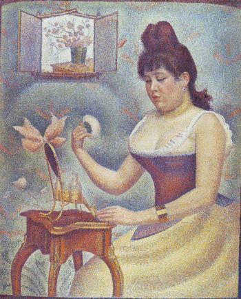 Young woman powdering herself1 | Georges Seurat | oil painting