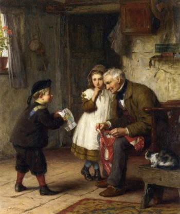 A Surprise for Grandfather | James Clarke Waite | oil painting