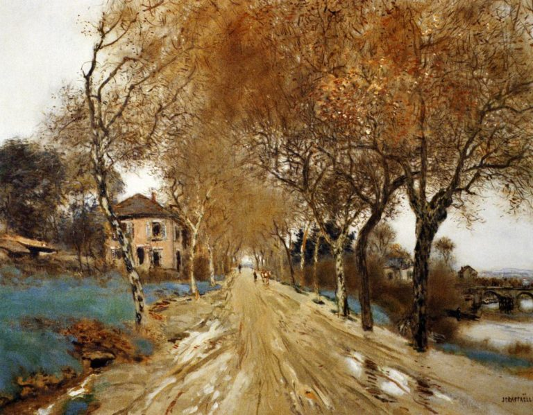 A Lane of Plane Trees   Jean Francois Raffaelli   oil painting