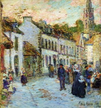 Street in Pont Aven Evening | Frederick Childe Hassam | oil painting