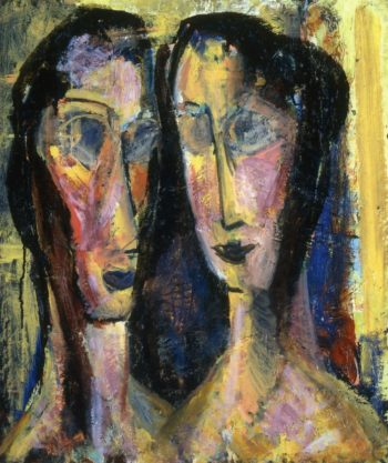 Two Heads with Yellow Background 1928-1929 | Alfred Henry Maurer | oil painting