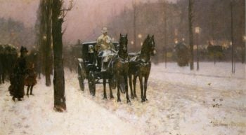 Street Scene with Hansom Cab | Frederick Childe Hassam | oil painting