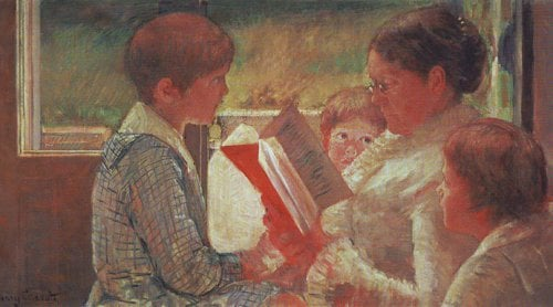 Katherine Cassatt reading to her grandchildren | Mary Cassatt | oil painting