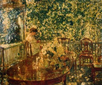 Summer Porch at Mr. and Mrs. C.E.S. Wood's | Frederick Childe Hassam | oil painting