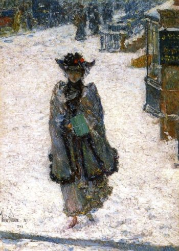 Street Scene, Christmas Morning Frederick Childe Hassam