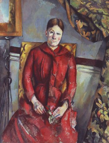 Madame Cezanne in a red dress | Paul Cezanne | oil painting