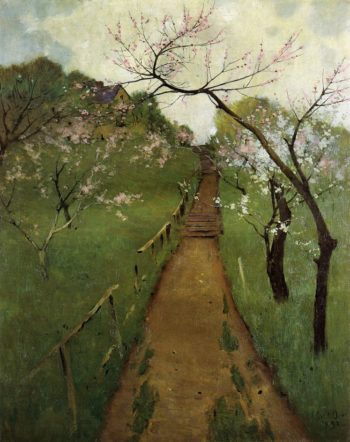 Spring Landscape with a Farmer and White Horse 1892 | Arthur Wesley Dow | oil painting