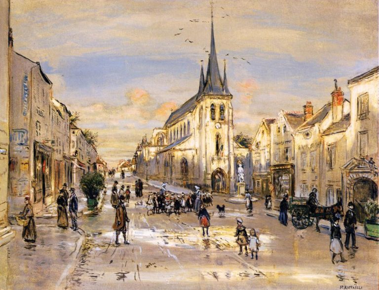 The Place Saint Jean in Nemours | Jean Francois Raffaelli | oil painting