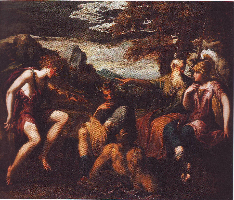 The Judgement Of Midas | Andrea Schiavone | oil painting