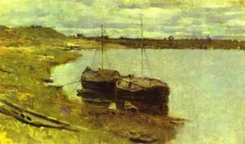 Barges The Volga 1889 | Isaac Ilich Levitan | oil painting
