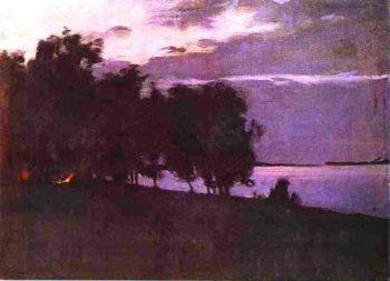 Bonfire 1890 1899 | Isaac Ilich Levitan | oil painting