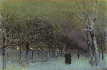 Boulevard in the Evening 1883 | Isaac Ilich Levitan | oil painting